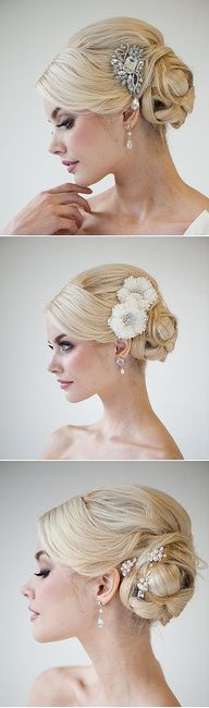 bridal hair.  Not crazy about the hair style but accessory ideas in case you don't go with a veil