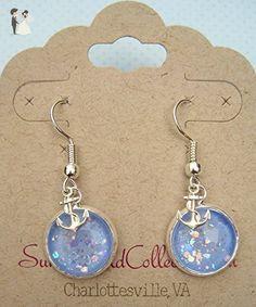 Silver-Tone Blue Iridescent Glitter Glass Anchor Charm Dangle Earrings - Beach weddings (*Amazon Partner-Link)