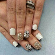 Gold glitter, white, embellished cheetah nails