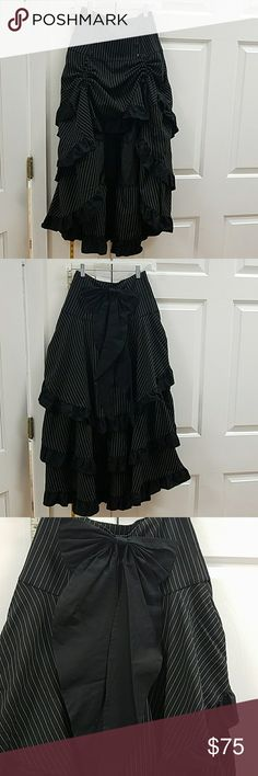 Steam punk style pinstripe skirt  brand new Skirt is high low with the ability to adjust the front to desired length. Beautiful layers and look chic star Skirts High Low