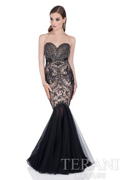 Strapless tulle and lace evening gown with two-tone bead and lace  appliques. This elegant formal gown is finished with a trumpet skirt.