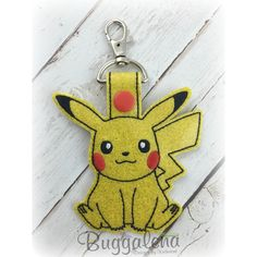 Pokeychew 2 Snap Tab Key Fob Embroidery Design-Character...