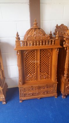 Wooden Temple For Home, Home Temple, Door Design, House Design, Mandir Design, Pooja Mandir, Puja Room, Beautiful Homes, Drawers