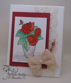 Friends of Flourishes design team member Toni challenged us to use ribbon on our cards.     For my card, I used an image from the Endear...