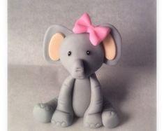Fondant Elephant Cake Topper by ToppersbyAlma on Etsy