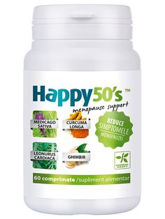 Scaderea simptomelor menopauzei Happy50's - Sustine sistemul hormonal feminin si contribuie la diminuarea neplacerilor cauzate de disfunctia acestuia in perioada pre-menopauzala si a menopauzei.