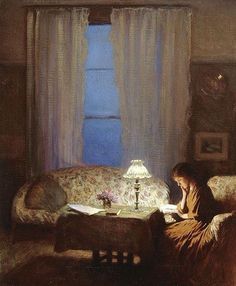 Twilight: Interior (Reading by lamplight), George Clausen (English, Oil on canvas. Leeds Museums and Galleries, City Art Gallery. Twilight: Interior depicts the artist's sitting. Reading Art, Woman Reading, Reading People, Happy Reading, Reading Books, City Art, Your Paintings, Oeuvre D'art, Female Art