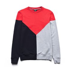 100% lightweight cotton crewneck sweatshirt with geometric inserts. Ribbed c