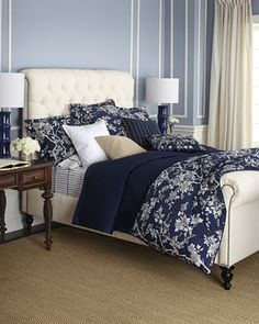 Deauville Bedding by Ralph Lauren at Horchow-dark blue blanket or coverlet along with comforter