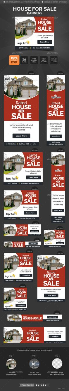 House For Sale Banners - Banners & Ads Web Template PSD. Download here: http://graphicriver.net/item/house-for-sale-banners/11081548?s_rank=1184&ref=yinkira