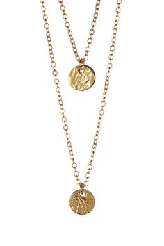 LEILA   Layered Hammered Disc Necklace   HauteLook