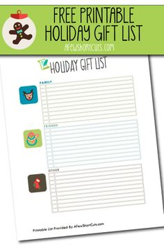 FREE Printable Holiday Gift List! Get that Christmas list in order