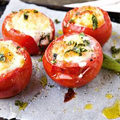 baked egg in tomato with basil
