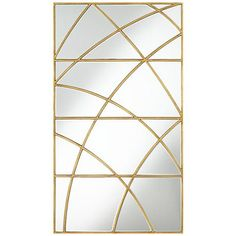 A rectangular wall mirror with a gold leaf exterior frame and curved interior segments.