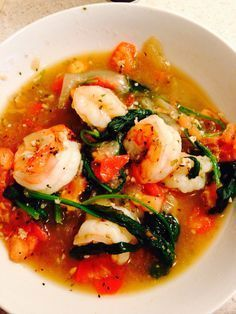 Hcg friendly shrimp & spinach . Add 1/4 cup of chicken broth with 100g of peeled shrimp. Once shrimp is a nice pink color add spinach until it is wilted. Add salt, pepper, and garlic to taste. Cook time 7 minutes. Serve & enjoy