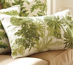 Green garden embroidered pillow - lovely