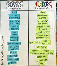 "Bosses vs. Leaders Lesson-- a sorting activity that's great to do whole-class to show the difference between ""boss"" and ""leader"" language and behavior   (Freebies included)"