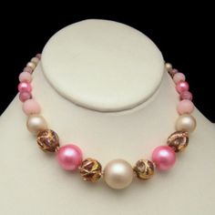 Vintage Slim Collar Necklace Pink Art Glass by MyClassicJewelry, $45.00