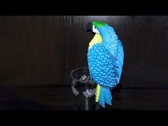 3D origami blue-and-yellow macaw parrot tutorial (instruction) - YouTube