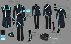 Ynos SP Uniforms by Helix-Wing on DeviantArt Character Concept, Concept Art, Anime Weapons, Future Clothes, Sci Fi Characters, Drawing Clothes, Character Outfits, Anime Outfits, Character Design Inspiration