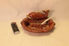 #Florida #Dolphin #Ashtray #vintageashtray Brown Glazed Ceramic Pottery | Etsy #yourvintagevice