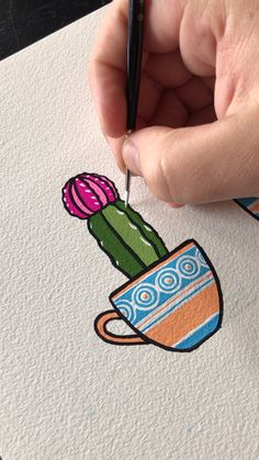 Have some fun with gouache by creating a tranquil, spring-themed, gouache landscape. Need gouache painting ideas? Cactus Painting, Cactus Drawing, Gouache Painting, Moon Painting, Painting Art, Painting Videos, Art And Illustration, Easy Drawings, Art Tutorials