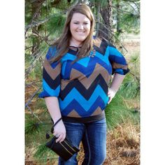 Plus Sizes: It's Midnight-CHEVRON top now available in plus sizes!