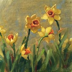 """Daily Paintworks - """"Daffodils"""" - Original Fine Art for Sale - © Krista Eaton"""