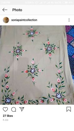 Fabric Colour Painting, Fabric Painting On Clothes, Paint Fabric, Fabric Paint Designs, Dress Painting, Painted Clothes, Embroidery Suits, Embroidery Designs, Bed Sheet Painting Design