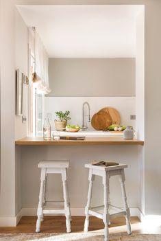 cocina barra taburetes pasaplatos mueble madera blanca kitchen hueco pequenas comedor pequena entre barras stress pared bloglovin encimera banquetas maison