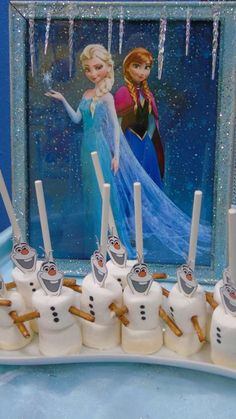 Olaf marshamallows at a Frozen birthday party! See more party ideas at CatchMyParty.com!