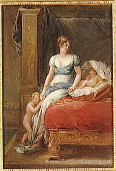 Caroline Murat nee Bonaparte with her eldest children, Achille and Laetitia oil painting by Francois Gerard