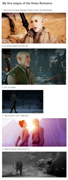 The 5 Stages... Solas and Lavellan romance http://layne93.tumblr.com/ Dragon Age: Inquisition