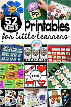 Planning and teaching is a non stop job! You work tirelessly and I applaud you each day for the amazing difference you are making in the lives of your students. To help you along the way, here are 52 Weeks of Printables for Little Learners! Just print and Sight Word Activities, Kids Learning Activities, Learning Resources, Teacher Resources, Number Activities, Primary Resources, Educational Activities, Fun Learning, Cvc Words