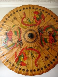 Antique umbrella Chinese Wooden Old Bamboo Parasol handmade