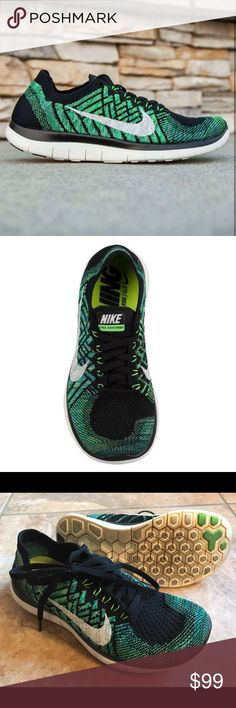Nike Free 4.0 Flyknit Green knit running shoes Nike Free 4.0 Flykit women's sneakers! Black sail, green volt, and lucky green. Conforms to the shape of your foot, extreme flexibility that allows it to move freely. One-piece Flyknit upper integrates with dynamic Flywire cables for a snug, sock-like fit that moves with your foot while offering both support and breathability. Hexagon flex grooves in midsole for natural range of motion. Rubber pods in high-wear areas for durability and traction…