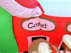 "13 5""North Pole Stables Santa Reindeer Christmas Airblown Inflatable | eBay"