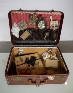 Graphic 45 Transatlantique altered suitcase designed by Nancy Wethington
