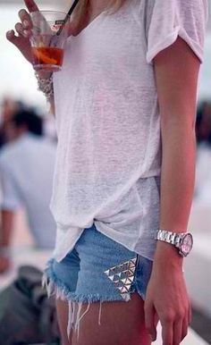 Studded cutoffs.