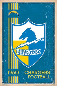 NFL Heritage Series SAN DIEGO CHARGERS Official Retro Logo c.1960 Poster - Costacos Sports