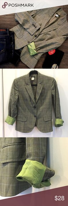 J. Crew Glen Plaid Blazer with Lime Green Lining J. Crew glen plaid blazer. Sleeves lined with lime green for the perfect pop of color when rolled. The glen plaid contains greens, lime, light blue, and browns. 2 button. Lightweight/summerweight wool.  100% wool. Acetate lining.  Size 4  My favorite thing about this blazer is the lime green accent. So cool.  One sleeve has a few tiny pin holes and one button is coming off so I'm discounting heavily!  Wear this with jeans and driving shoes or…
