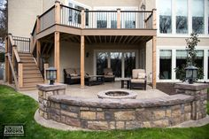deck patio Stamped Concrete and Stone Hardscape Pictures built by All Weather Decks Patio Under Decks, Decks And Porches, Fire Pit Under Deck, Under Deck Landscaping, Small Patio, Concrete Patio, Stamped Concrete, Patio Steps, Building A Porch