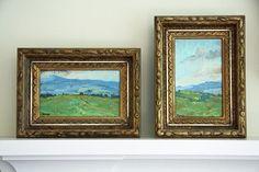 Framed watercolor paintings.