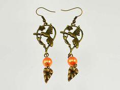 Orange  Antique Brass  Hummingbird  Charm  Chandelier by bebsbeads, $10.00