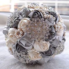 Handmade Luxury Silk Rose Flower Rhinestone Pearl Brooch Wedding Bridal Bouquet | eBay
