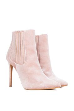 Full View Velvet Heeled Booties in Nude