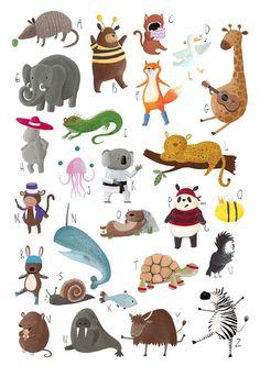 SALE a2 Animal Alphabet A-Z Art Print Poster for Children's Nursery Bedroom, Boys Bedroom, Girls Bedroom, Children's Wall Art, ABC print