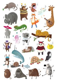 SALE a2 Animal Alphabet A-Z Art Print Poster for Children's Nursery Bedroom, Boys Bedroom, Girls Bedroom, Children's Wall Art, ABC print