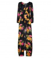 Black Floral Print Maxi Dress £27.99 €34.99 149zl Floral Print Maxi Dress, Floral Prints, Pajama Pants, Tropical, Fabric, Pattern, Fashion Trends, Black, Dresses
