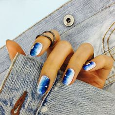 Nail Unistella by EK . Lab - [#유니스텔라트렌드]  #데님네일 #그라데이션네일  #유니스텔라 #네일디자이너... Korean Nail Art, Korean Nails, Mani Pedi, Manicure And Pedicure, Nails On Fleek, My Nails, Finger Nail Art, Nail Polish, Claws